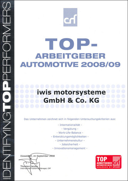 Top Arbeitgeber Automotive 2008 iwis