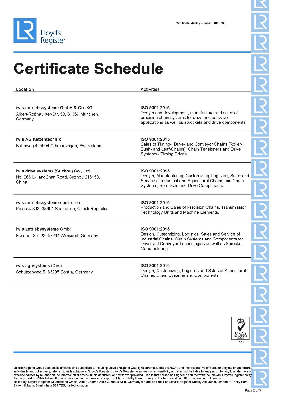 ISO9001 Multi-site Certificate schedule1 iwis