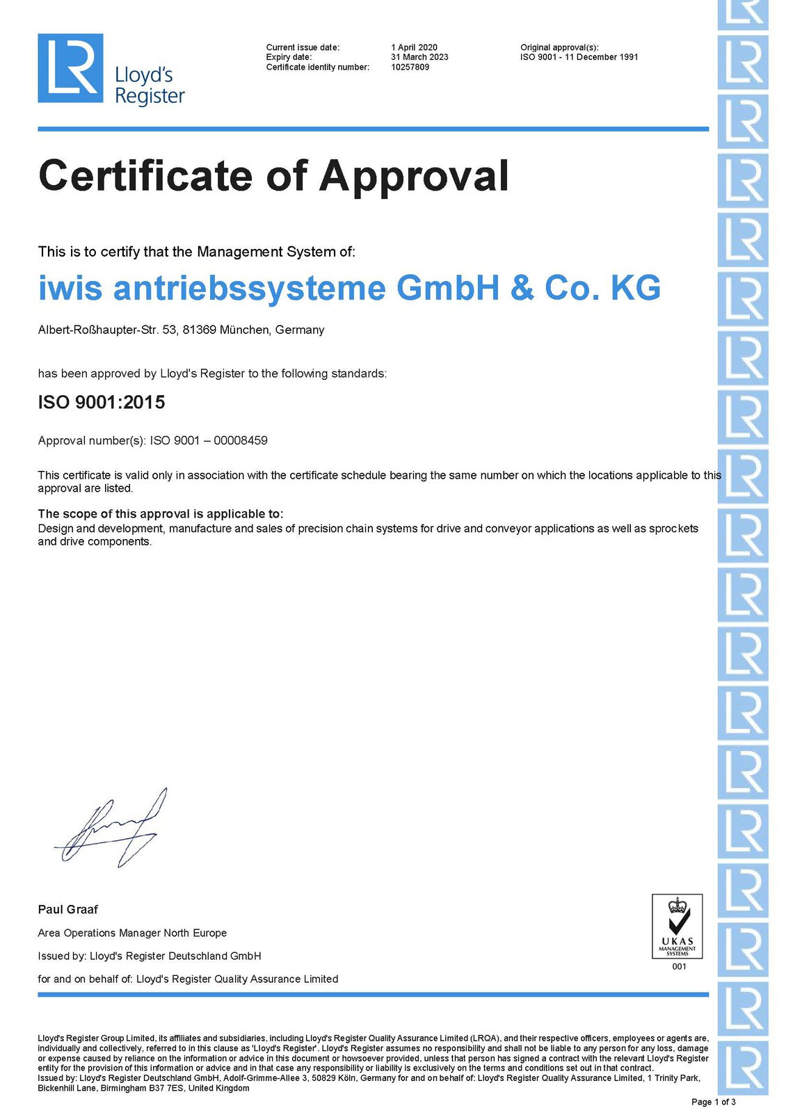 ISO9001 Multi-site Certificate iwis