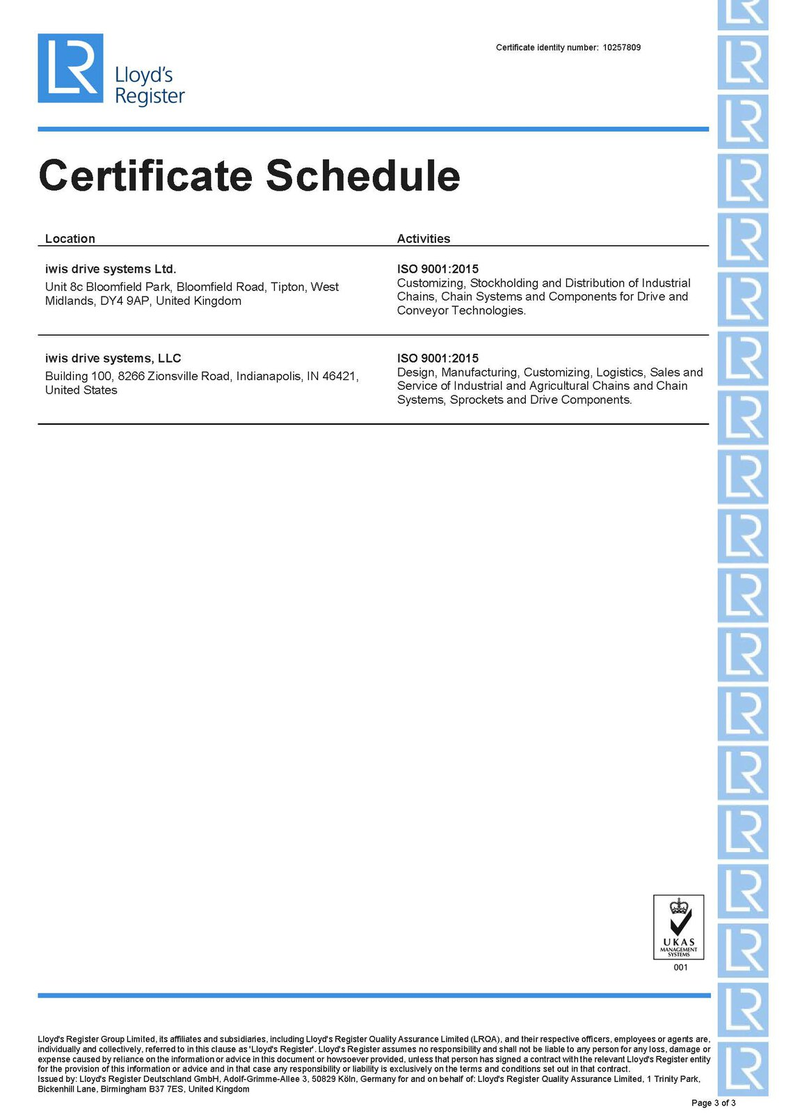 ISO9001 Multi-site Certificate schedule2 iwis