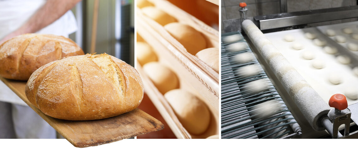 freshly baked bread, dough on production line