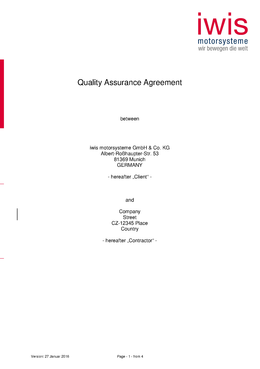 Quality Assurance Agreement