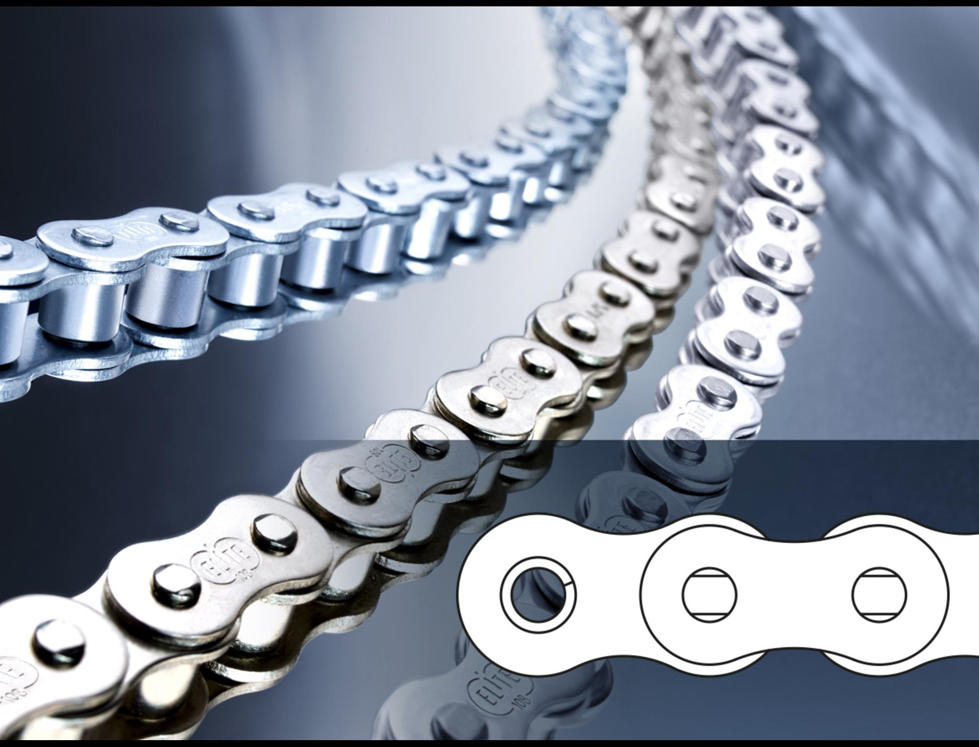 Roller chain 10B-1, zinc-plated - ELITE