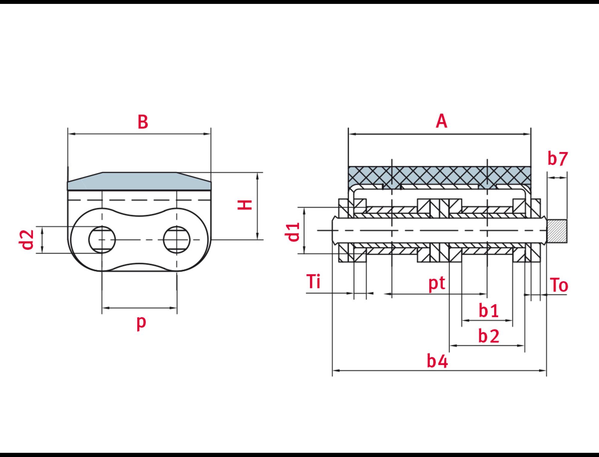 Elastomer profile chain 16B-2 Profile 3 - ELITE